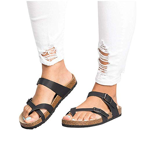 (ADOSOUL Womens Thong Flat Sandals Gladiator Buckle Strappy Cork Sole Summer Slides, Casual Ankle Buckle Strap Flat Slides)