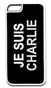 JE SUIS CHARLIE-GREY-Case for the APPLE IPHONE 5, 5s ONLY-Hard WHITE Plastic Outer Case