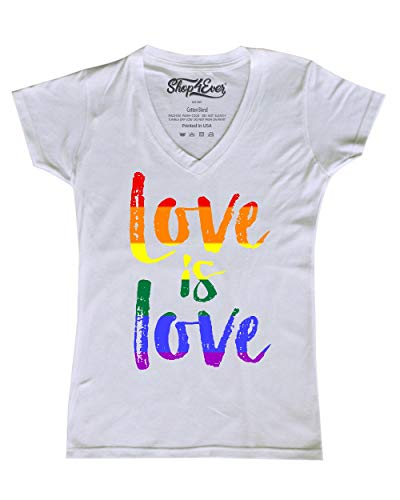 Shop4Ever Love is Love Women's V-Neck T-Shirt Gay Pride Shirts Large White 0