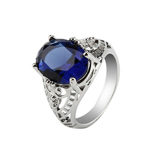 Icocol 925 Sterling Silver Women Fashion Jewelry Silver Amethyst zircon Anniversary Promise Wedding ring (Blue, Size 10)