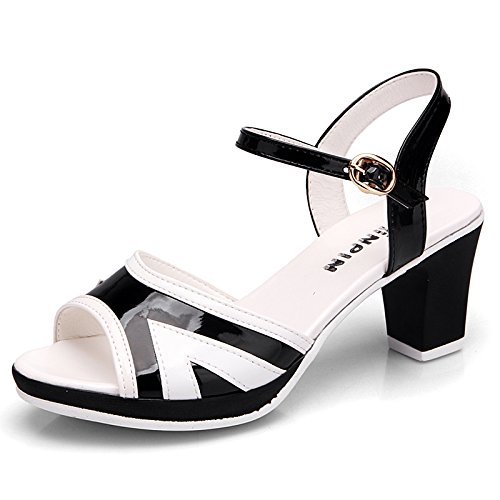 Noir AGECC Coarse Fish Mouth High-Heeled Sandals Female Fashion Leather Waterproof chaussures Thirty-eight