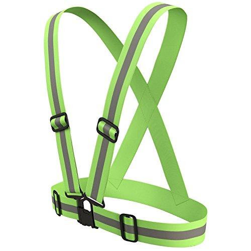 AGPTEK 1 Pack Lightweight Bright Reflective Adjustable Vest Strap for Running Bike Riding Horse Riding Cycling Jogging Walking Motorcycle