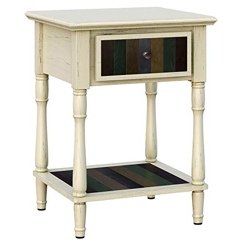 VASAGLE Nightstand with 1 Colorful Drawer, Bedside Table with Turned Wood Legs, 1 Storage Shelf, Assembly Without Tools, End Table for Bedroom, White ULET17WL (1 Drawer Nightstand)