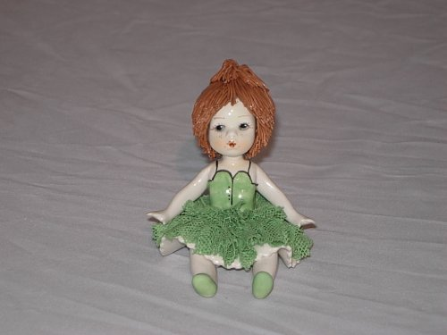 Girl in Green Dress Authentic Hand Painted Italian, used for sale  Delivered anywhere in USA