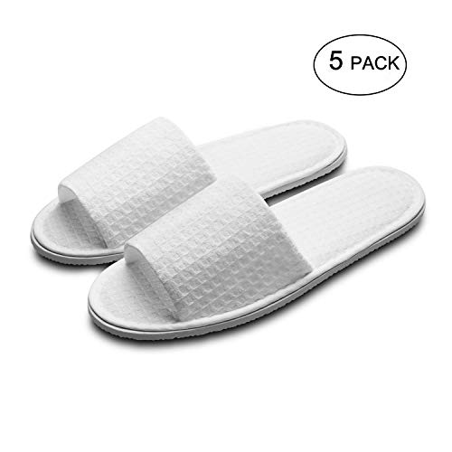 echoapple 5 Pairs of Waffle Open Toe White Slippers-One Size Fit Most Men and Women for Spa, Party Guest, Hotel and Travel, Washable and Non-Disposable (Large, White-5 Pairs)