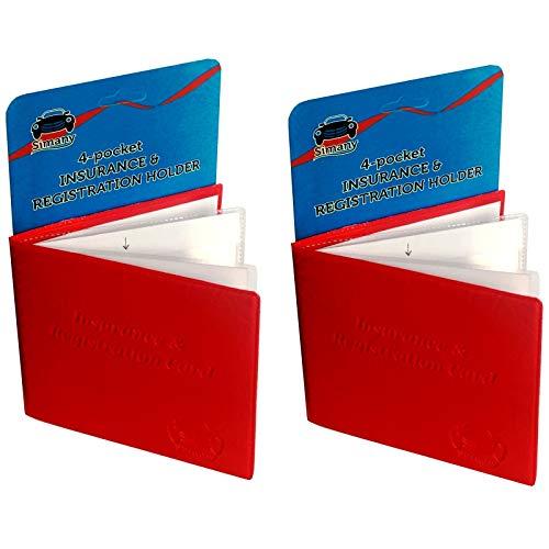Set of 2 Red 4-Pocket CAR INSURANCE REGISTRATION HOLDER 5.25