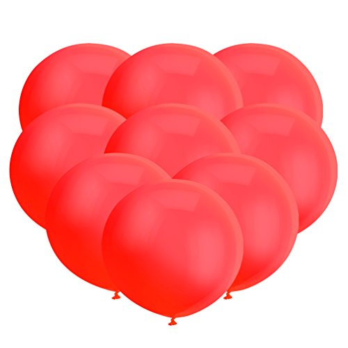 18 inch Big Balloon Latex Giant Balloon Jumbo Thick Balloons for Photo Shoot/Birthday/Wedding Party/Festival/Event/Carnival Decorations 30ct/Pack Red (Wedding Birthday Balloons)