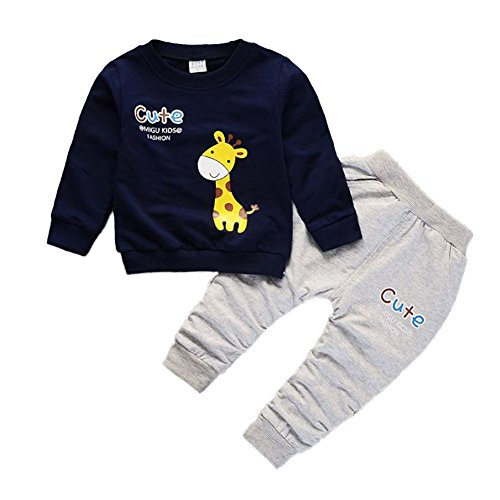 Babywell Baby Boys Girls Clothes 2Pcs Set, Toddler Kids Giraffe Cartoon Print Tops + Long Pants Autumn Outfit Clothes (S/80/0-1Years, Navy Blue)