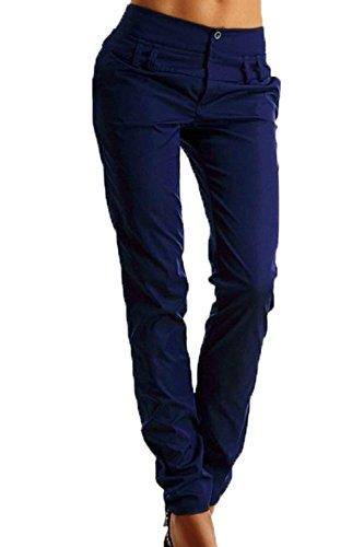 online retailer d17ba 9cd5a Primavera Pantalones Largo Unicolor Tiempo Lápiz Estilo Anchas De Otoño  Niña Libre Mujer Azul Cómodo Mujeres ...