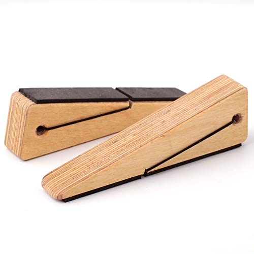 Door Stopper Decorative Doorstop Wedge- Pack of 2, Multi Surface Wooden Door Stop with Elastic Rubber Band, Non-Slip Door Stops with Heavy Duty, Quality Design for All Surfaces (Natural,2)