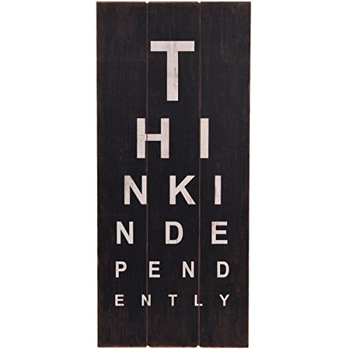 NIKKY HOME Rustic Eye Chart Think Independently Plaque Wall Decorative Sign, 15.94 x 0.59 x 36.02 Inches, Black