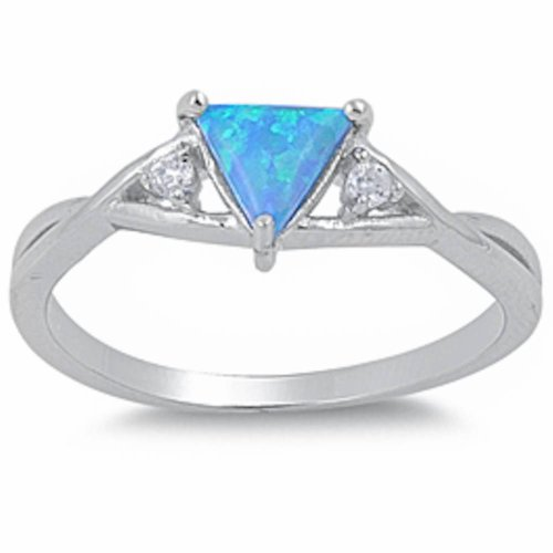 Trillion Cut Lab Created Blue Opal & Cz .925 Sterling Silver Ring Size 9 (Trillion Lab Cut)