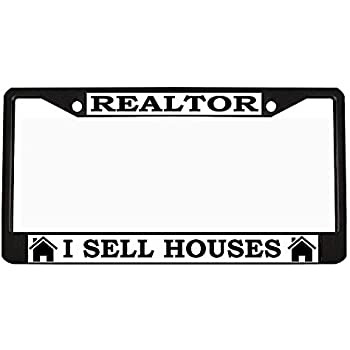 REALTOR I SELL HOUSES CAREER License Plate Frame Stainless Metal Tag Holder