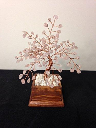Rose Quartz Wire Gemstone Bonsai Tree of Life,Healing Crystal Rose Quartz Gemstone Tree,Feng Shui Decor,Stone Copper Wire Tree ()