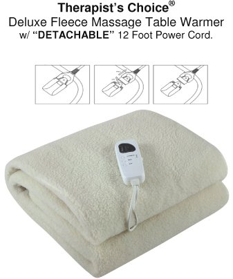 Therapist's Choice Deluxe Fleece Massage Table Warmer, w/DETACHABLE 12 Foot Power Cord. For Use with Massage Tables Only, Do Not Use as a Bed Blanket Warmer