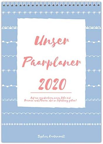 Paarplaner 2020 mit 3 Spalten - DIN A3 Paarkalender - für 2 Personen mit Feiertagen und Vorschau für 2021 - von Sophies Kartenwelt