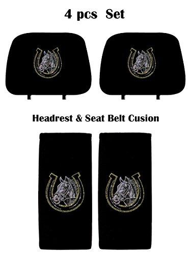 ALLBrand Crystal Studded Bling Rhinestone Car Truck Seat Covers Headrest & Seat Belt Cushion - Pair Set (Horse Shoe/Black)
