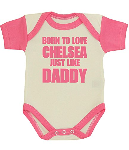 BabyPrem Baby One-piece Clothes Born to Love Chelsea Like Daddy 0-3 MONTHS PINK (Pink Chelsea)