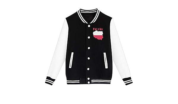 NJKM5MJ Unisex Teen Baseball Uniform Jacket Poland Polska Flag Coat Sport Outfit