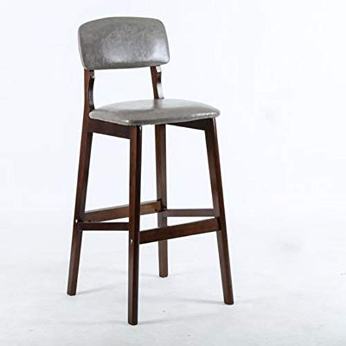 OR&DK Solid Wood Bar Stool, Nordic Vintage Bar Stool with pu Leather Soft Cushion Leisure Creative Counter High Stool-F 73cm
