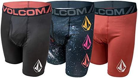 Volcom Mens Boxer Briefs 3 Pack Poly Spandex Performance Boxer Briefs Underwear