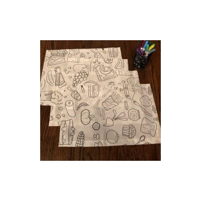 The Coloring Table - Colorable Food Fun Set of 4 Placemats - PATENTED ADVANCE MATERIAL! Specialty backing ensure markers will not bleed through For washable option, use Ultra Washable Crayola markers for best results - placemats, kitchen-dining-room-table-linens, kitchen-dining-room - 41NTVM5NVyL. SS400  -