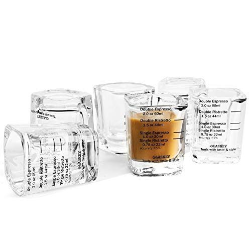 Espresso Shot Glass Set of 6, 2-ounce, Single/ Double Ristretto / Espresso Cup, Quantitative Thick Wall Heavy Base Sturdy Clear Coffee Glassware