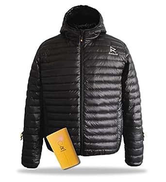 Men's HEATED DOWN Puffer Jackets & Coats RAVEAN (Medium, Black)