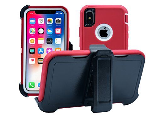 AlphaCell Cover Compatible with iPhone Xs/iPhone X | Holster Case Series | Military Grade Protection with Carrying Belt Clip | Protective Drop-Proof Shock-Proof | Red/White