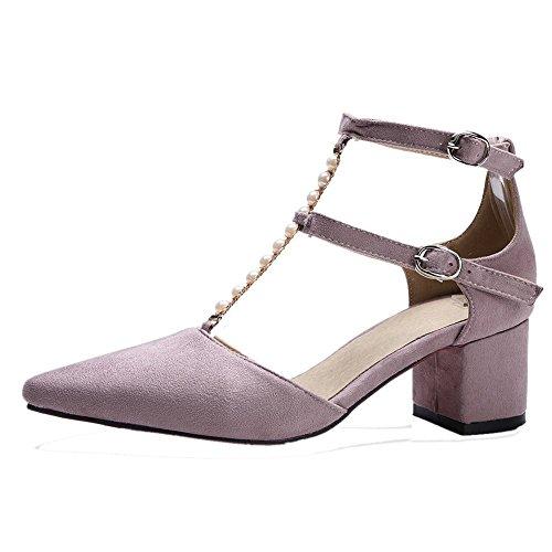 Mee Shoes Damen chunky heels T-Strap spitz Nubukleder Sandalen Helllila