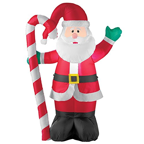 Collections Etc Inflatable Waving Santa & Candycane Outdoor Christmas Decoration