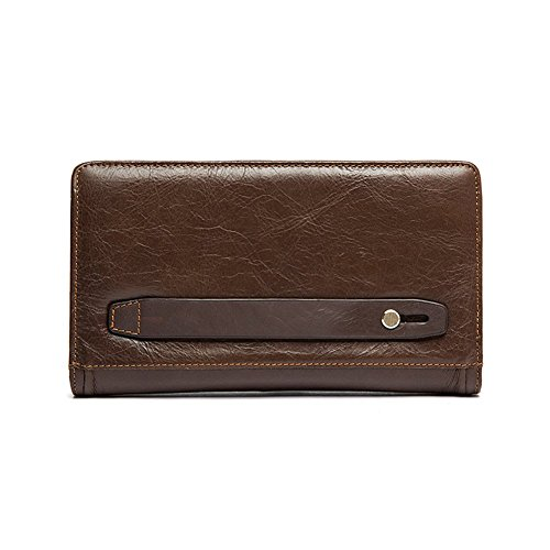 Clutch Handbag Double Zipper Leather Men Bag Black - 8
