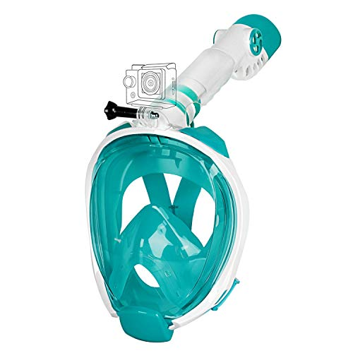 Unigear Full Face Snorkel Mask [2019 Safety Upgraded Version] - Panoramic 180° View with Handler Detachable Camera Mount, Anti-Fog Anti-Leak Free Breath Design (White/Blue, - New Mask Face Full