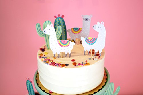Llama and Cactus - Cupcake Toppers | Party Picks | Baby Shower, Birthday Party Decor | Llama Themed Party Supply by Merrilulu