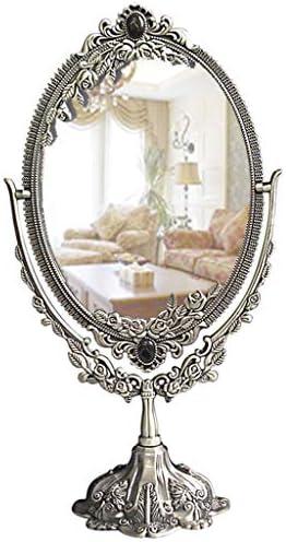 クラシックヴィンテージ古代の彫刻が施されたダブルサイドミラー、化粧鏡、バスルームのテーブルトップ用シェービング用ミラーバニティミラーベスト W1XX (Color : C)