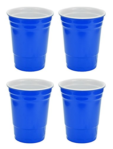 (Fairly Odd Novelties 16oz Blue Cup Made Out Of Melamine 4 Pack Living It Large Drink Solo or With A)