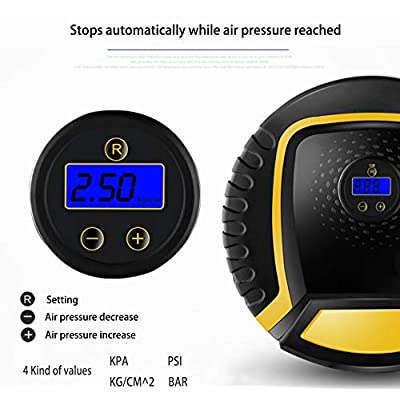 Lemon Fish Portable Car Air Compressor DC 12V,Pump,Automatic Digital Electric Tire Inflator Air Compressor Pump, Car, Truck, SUV, Basketballs and Other Inflatables XH004C: Automotive