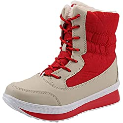 Mysky Fashion Women Vintage Mixed Colors Plush Keep Warm Boots Ladies Casual Mid-Calf Platform Boots Shoes