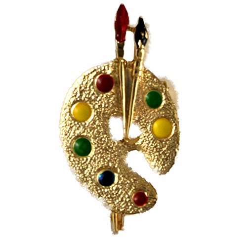 Gerrys Gold Tone Brooch (Gerry's Painter's Vintage Palette Gold Tone Pin Brooch)
