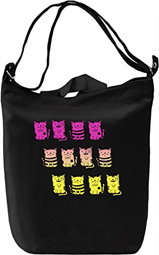 Colourful Kitties Borsa Giornaliera Canvas Canvas Day Bag| 100% Premium Cotton Canvas| DTG Printing|
