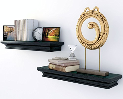 Traditional Small Wall Shelf Ledge Crown Molding Design Black Set of 2 , Buyer Receives 2 Shelves (Small Shelf Black Wall)