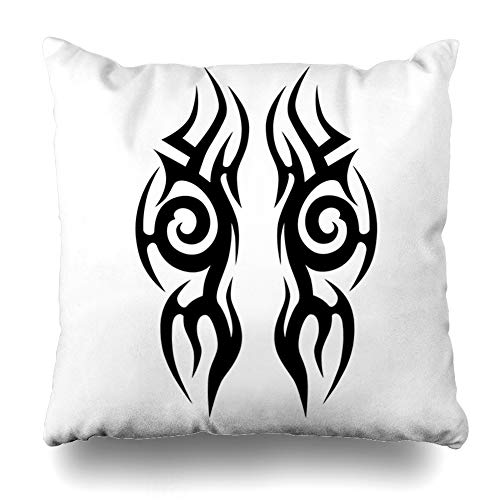 Ahawoso Throw Pillow Cover Couple Abstract Tattoos Ideas Designs Tribal Ethnic Ankle Arm Armband Black Celtic Design Flame Decorative Cushion Case 20x20 Inches Square Home Decor Pillowcase