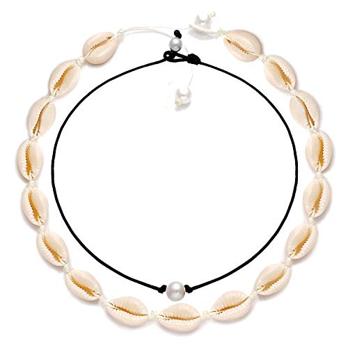 CEALXHENY Shell Choker Necklaces Bohemia Cowrie Shell Necklaces Beaded Seashell Necklaces Summer Beach Jewelry for Women (E Shell Choker+Pearl Choker) (Shell Pearl)