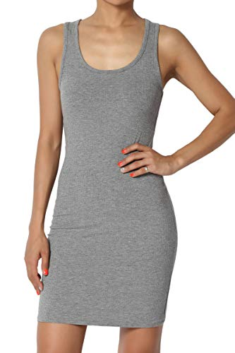(TheMogan Junior's Sleeveless Scoop Neck Racerback Ribbed Tank Dress Heather Grey)