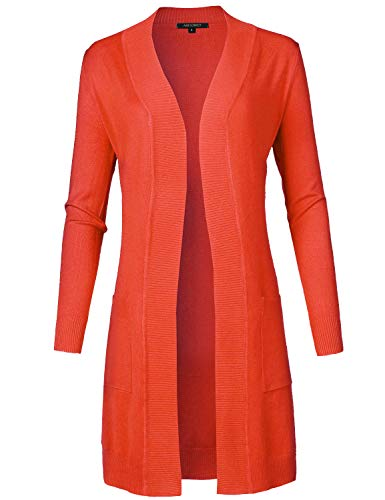 Solid Soft Stretch Long-line Long Sleeve Open Front Knit Cardigan Hot Coral M ()