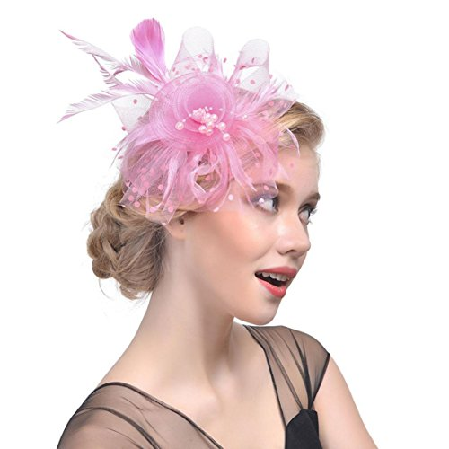 SanCanSn Fashion Hat Women Flower Mesh Ribbons Feathers Headband Cocktail Tea Party Hat Headwear (1PC, (22 Victorian 1 Light)