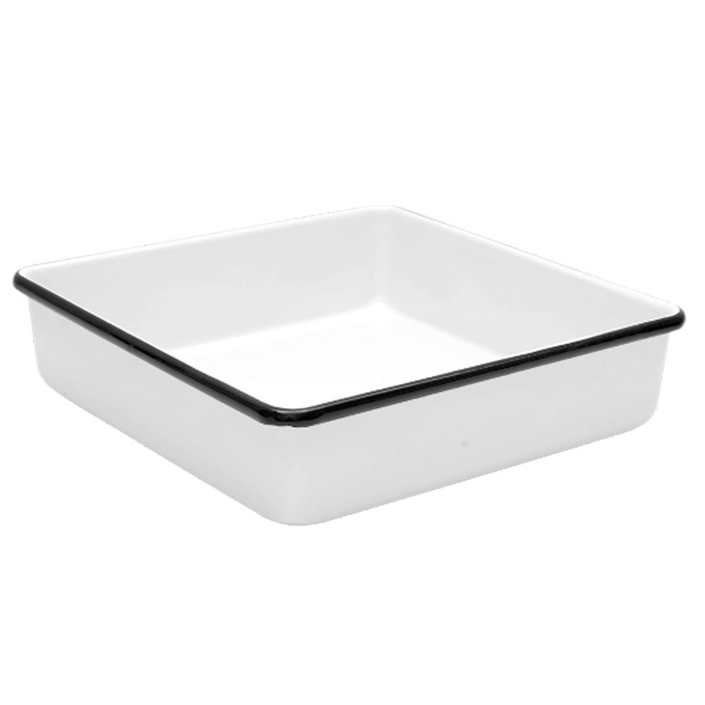 Enamelware Brownie Cornbread Pan - Solid White with Black Rim B00EEG62LM Solid White with Black Trim Solid White with Black Trim
