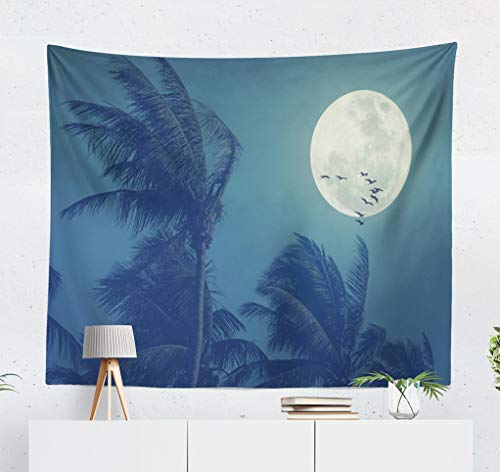 ASOCO Tapestry Wall Hanging Tropical Night Full Moon and Palm Leaf Birds Space Nature Environment Wall Tapestry for Bedroom Living Room Tablecloth Dorm 60