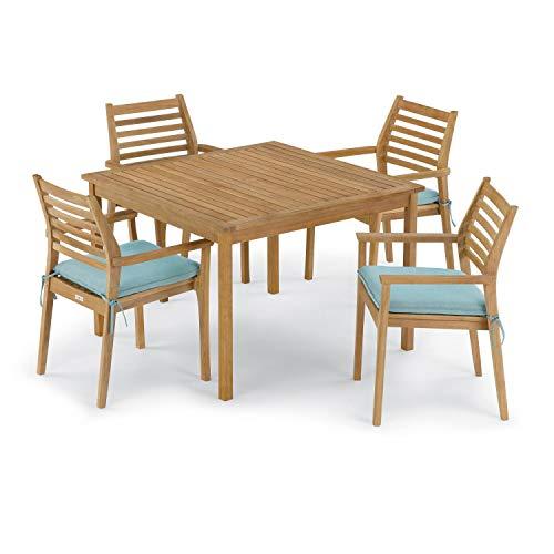 Oxford Garden Classic 5 Piece Natural Shorea Patio Dining Set W/ 42 Inch Square Table & Sunbrella Canvas Mineral Blue Cushions