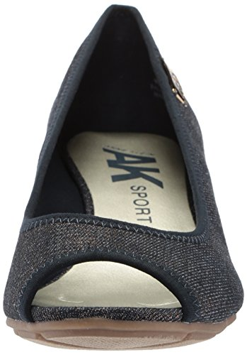 outlet from china for cheap Anne Klein Women's Camrynne Peep Toe Wedge Pump Blue/Gold/Multi Fabric outlet best seller fvCkLiG9M